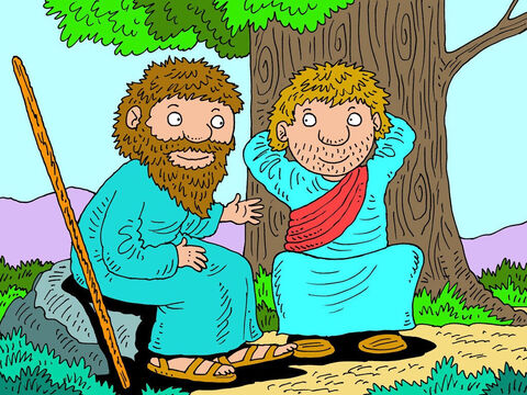 A long time ago, in the land of Israel, there lived two prophets of God - Elijah and Elisha. The two prophets were on their way to Gilgal. Elijah, after many years of faithful service, had been told by God that he was about to be taken up into heaven and was enjoying his last few hours with his friend Elisha. – Slide 1