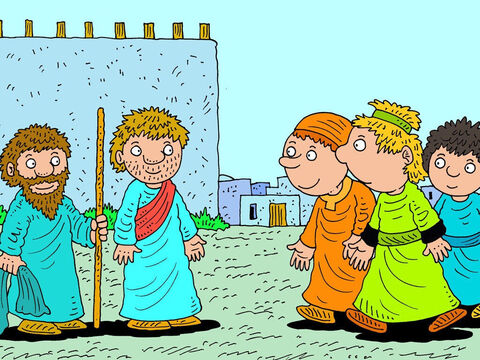 'Oh, no,' said Elisha, 'I'm coming with you! As the Lord lives and as you live, I will not leave you!' So they walked from Gilgal all the way to another town called Bethel. When they got there, a crowd of young prophets came to meet them. – Slide 3