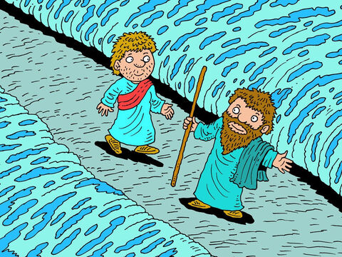 Elijah twirled his mantle into a rope and thumped it down on the water of the river. Immediately, the water sprang back and split into two parts, leaving a nice dry path right across the riverbed. The two men walked across without getting their feet wet. – Slide 8