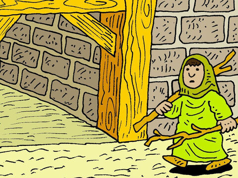 So Elijah went to Zarephath. When he reached the town gate, he saw a widow gathering wood for a fire. – Slide 2