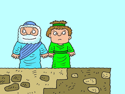 Don't be afraid,' Elisha replied. 'There is a much bigger army out there too and it is on our side.' 'Where?' asked the servant. Elisha led his servant up onto the flat roof of his house. – Slide 15