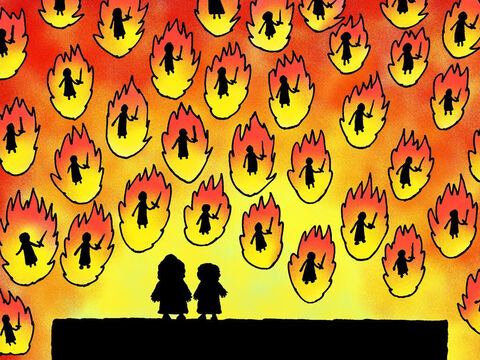 As soon as Elisha prayed the servant suddenly saw another army – a huge army – burning powerfully with fire. – Slide 17