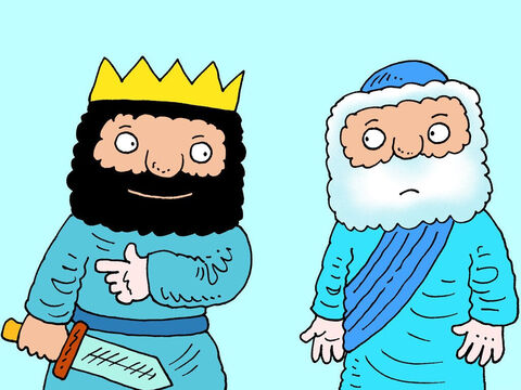 The King of Israel was excited. He had the enemy soldiers just where he wanted them. 'Shall I kill them?' he asked Elisha. – Slide 13