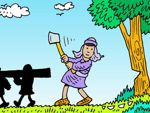 They went to the Jordan and began to cut down trees. As one of them was cutting down a tree, the iron axe-head came loose. – Slide 3