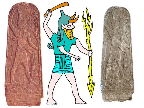 People made statues of Baal looking like this. In one hand he held a club and in the other hand a bolt of lightning. People thought Baal was in charge of the weather, so when they wanted rain for their crops they would offer sacrifices to him. – Slide 3