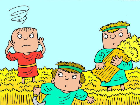 One morning, the boy was out in the fields with his father's servants watching as they cut the wheat. It was a very hot day, so hot the boy started to feel dizzy. – Slide 2