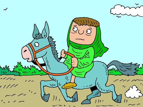 The woman then got onto a donkey and set off to find Elisha. – Slide 6
