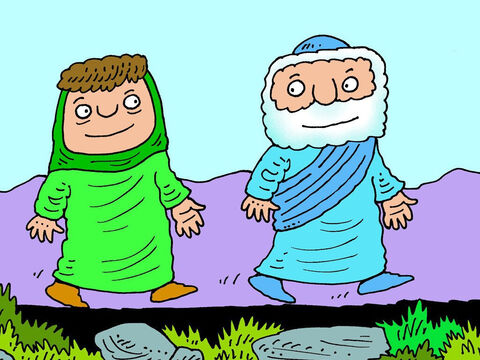 Elisha followed after him, but was much slower than his servant. 'I'll travel with you,' said the boy's mother. – Slide 14