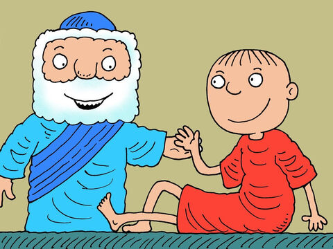 Elisha did the same thing again. The second time the boy opened his eyes, sat up and then sneezed seven times. – Slide 18