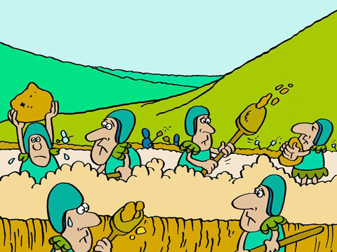 The three kings went back to their armies and told them what to do. <br/>'Phew!' muttered the soldiers. 'That means a lot of hard work!' <br/>But the soldiers obeyed orders and started digging ditches – it was a strange way to fight a war. – Slide 10