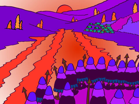 And in the morning the sky was deep, beautiful and rosy red. When the Moabite soldiers woke up and went out of their tents, they saw a dreadful sight. The valley looked as if it was filled with blood! <br/>And when the three kings and their armies looked across the valley it looked like the Moabites had done an awful lot of bleeding! – Slide 12