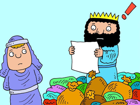 When the king of Israel read the letter he became scared. He did not trust in God. 'Oh no,' he panicked. 'The King of Syria knows I can't cure leprosy and wants to pick a quarrel with me.' – Slide 10