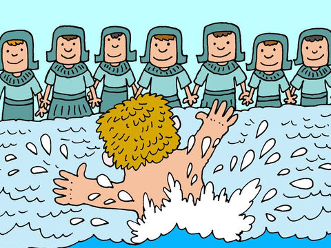 He jumped up and down in the water shouting, 'Look! The God of Elisha has healed me.' – Slide 10