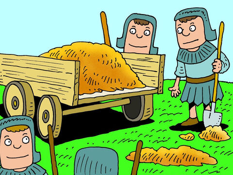 So Naaman ordered that his men dig up a cartful of dirt. – Slide 12