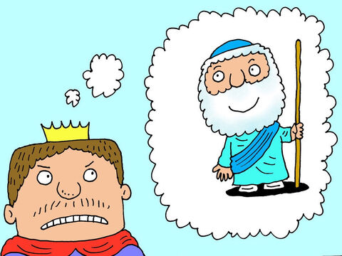 'I need to blame someone for this mess,' thought the King. He decided it couldn't possibly be his fault or the result of his own bad behaviour and disobedience. So he decided to blame the one person who had obeyed God – Elisha the prophet. – Slide 12