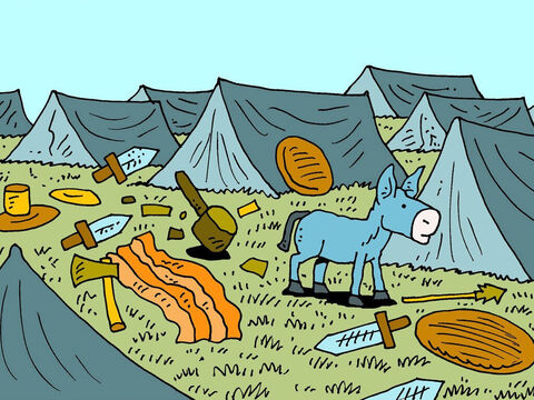 The terrified men had dropped everything and fled, absolutely terrified. They left tents, beds, chairs, tables, horses, tools, weapons, clothes, ornaments, money … and food!' – Slide 9