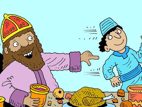 During the feast the King decided to call his wife to entertain the guests so he sent a servant to fetch her. – Slide 3