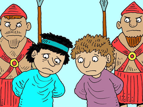 The king was very angry. He had Bigthan and Teresh arrested and put on trial. They were both found guilty. – Slide 18