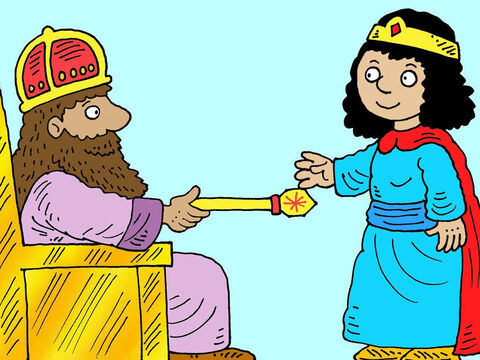 'What can I do for you?' the king asked. 'Ask me anything you like.' <br/>I would like you to come to a feast,' Esther replied. 'And I would like to invite Haman too.' – Slide 19