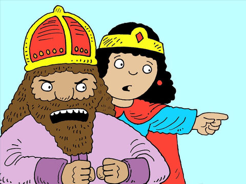 'Who would dare to kill you?' thundered the king. Esther pointed at Haman. – Slide 9