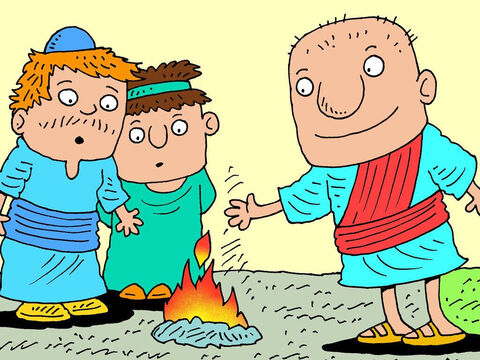 God then told Ezekiel to divide his cut hair into three equal piles and put a few hairs into his pocket. Then God told him to take one pile of hair and set it on fire in the middle of Jerusalem. Ezekiel set the strands of hair on fire. – Slide 13