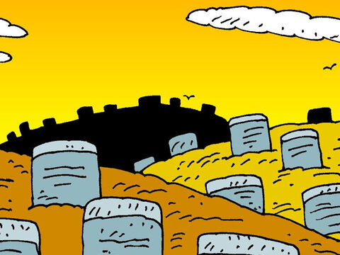 Now there was a man living by the shore in a cemetery among the tombs in a graveyard. – Slide 3