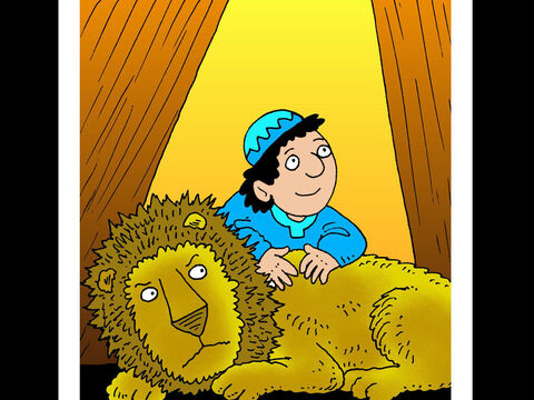Daniel <br/>When Daniel was ordered to stop praying to God he refused and was put in a den of lions. God sent an angel to close the lions' mouths and Daniel was rescued. – Slide 15