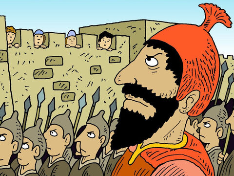 One day the very powerful and cruel king Sennacherib, ruler of the Assyrians marched on Jerusalem with his large and powerful army and lay siege to the city. – Slide 2