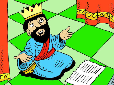 Hezekiah went up to the temple of the Lord and spread out the paper listing all the threats the Assyrians had made. He then prayed, 'You alone are God over all the kingdoms of the earth. You have made heaven and earth. Look at the words Sennacherib has sent to ridicule the living God.' – Slide 6