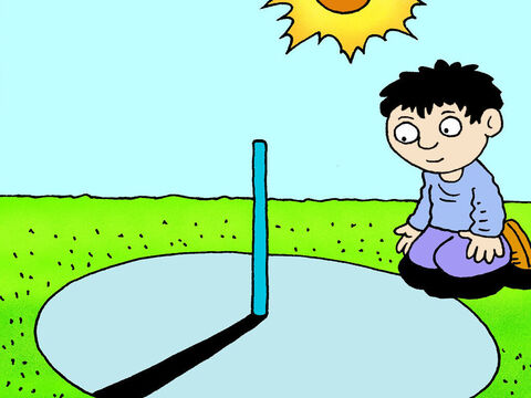Now in those days people told the time by using a sundial. As the sun moved across the sky from east to west it cast a shadow. – Slide 11