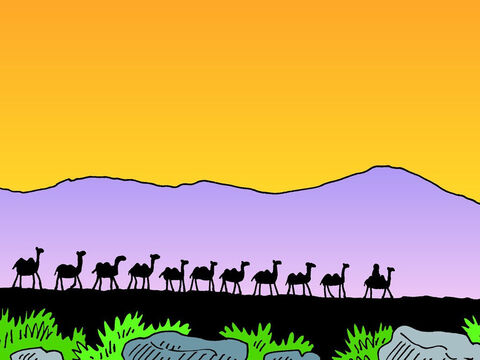The servant collected ten camels and loaded them with provisions. Then he set off for Aram Naharaim in Mesopotamia, where Abraham's brother Nahor lived. – Slide 4