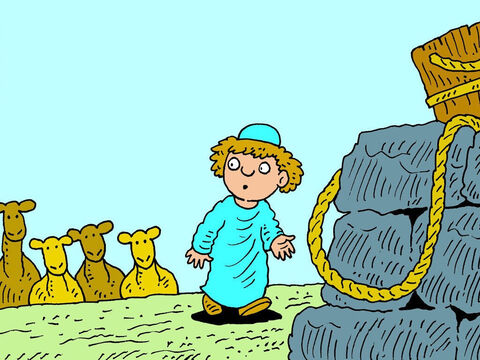 When he arrived, he stopped outside the city and made his camels kneel down close to a well. – Slide 5