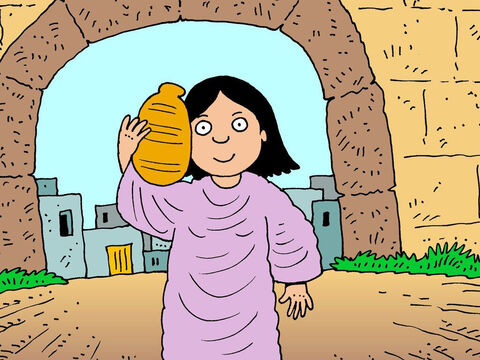 While he was praying, a woman called Rebekah came to the well. She was carrying a water pot on her shoulder. – Slide 7