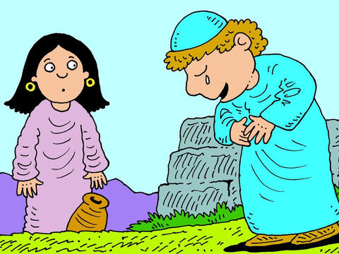 The servant was pleased as it meant Rebekah was related to Abraham. He bowed his head and worshipped God. – Slide 11
