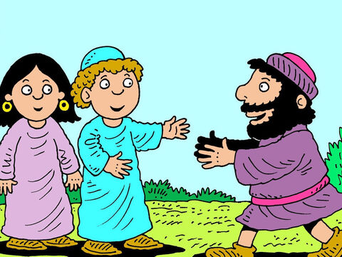 Rebekah was living with her brother Laban and his wife. When Laban heard about the servant's arrival he came running to him. – Slide 13