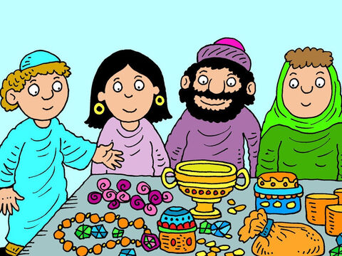 The servant explained why he had come, then brought out gold and silver jewellery and gifts of fine clothes for Rebekah. He also gave expensive gifts to Laban and Rebekah's mother. – Slide 16