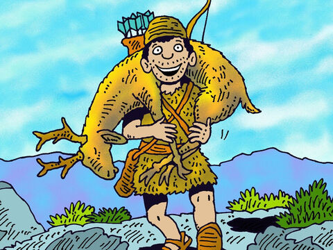 Just as Jacob left his father Isaac, Esau came in from hunting. – Slide 11