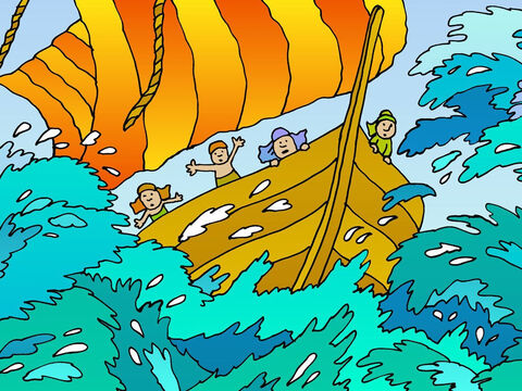 The ship sailed towards a far-away place called Tarshish, in the opposite direction from Nineveh. Jonah thought he had got away, but God was watching him. God sent a fierce storm! – Slide 5