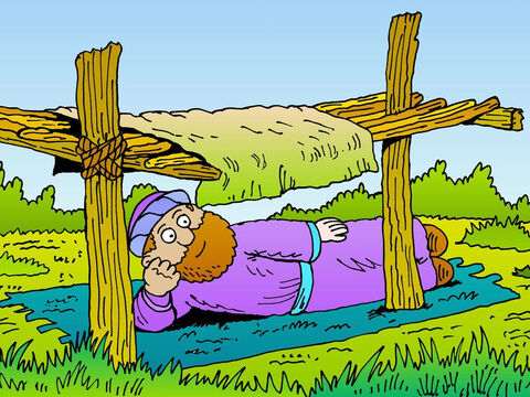 Jonah went out of the city and sat down to watch. He was sulking and still hoped God would destroy Nineveh. He made a shelter with some sticks, which wasn't much use. – Slide 20