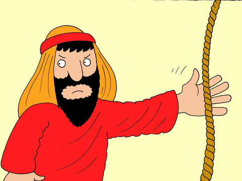At last Jesus could take no more of this insult. He reached for some rope and began to swing it round like a whip. He ran toward the greedy people and began to turn their tables over, and chase their animals out of the Temple. – Slide 15