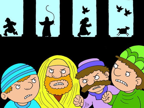 The Pharisees, and other leaders, who were supposed to be in charge of the Temple, felt guilty and angry. They knew they should have stopped all the buying and selling in the Temple, but they loved all the money they got from it. Now they began to grumble. 'We must kill this man!' they said to each other. – Slide 17