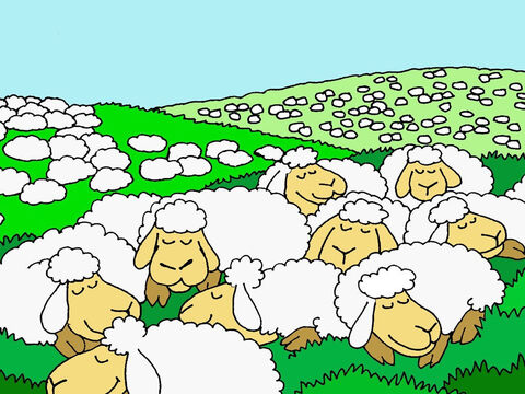 He makes me to lie down in green pastures. <br/>Sheep usually lie down when they feel safe and satisfied. This means that normally I am contented because all my needs have been met. – Slide 2