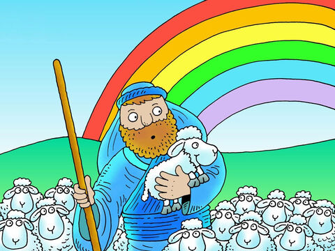 Jesus once told a story about a sheep that got lost. This story is about a little lamb who wandered off. If you see the little lamb in any of the pictures point him out. <br/>There once was a shepherd who had 100 sheep. Can you see a little lamb in the shepherd's arms? – Slide 1