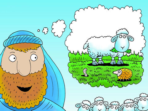 The shepherd counted his sheep back into the sheep fold … 97-98-99. One of his sheep was missing. 'Where is my little lamb?' he wondered. 'I must find him.' – Slide 4