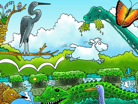 'It will be dark soon,' whispered little lamb, 'I must hurry.' Can you see him bounding along? God made all the animals in this picture. Do you know what they are called? (Left to right: Echidna, heron, crocodile, brachiosaurus, bird, butterfly). – Slide 11