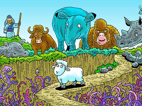 The next morning little lamb woke and looked around for his shepherd but all he saw were big scary animals looking at him. Can you see the shepherd? – Slide 16