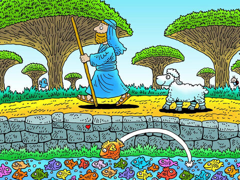 'Follow me,' said the shepherd as they set off for the sheepfold.  Little lamb followed but was very tired. So the shepherd picked him up and carried him on his shoulders. – Slide 20