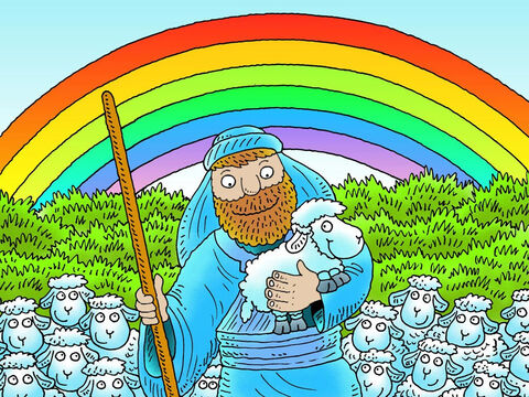The shepherd was so happy to bring his lost little lamb home. 'Be happy with me,' he shouted. 'I have found the sheep that was lost.' Jesus told the story of the lost sheep to help us understand how much He loves us. Even when we disobey and get into trouble He want us to turn to Him for help. He will find us and keep us safe. – Slide 21