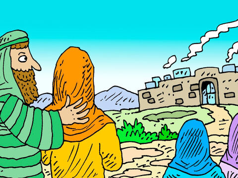 Lots looked around and saw that the plain of Jordan had plenty of water and good land. So Lot decided to pitch his tents near the city of Sodom. Abram went in the other direction to live near Hebron where he built an altar to the Lord. – Slide 3