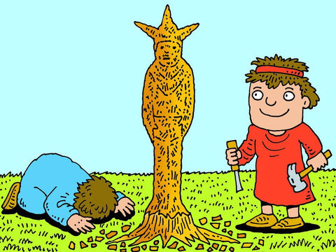 And he set up wooden poles and altars so the Israelites could worship a goddess called Asherah. – Slide 4